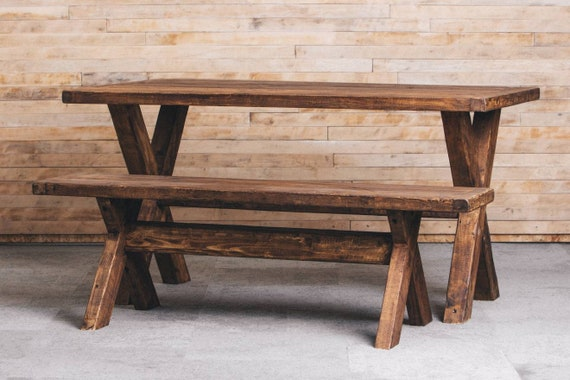 Surprising Rustic Style Dining Table And Two Benches Any Size Quality Reclaimed Timber Solid Wood Dining Table Dining Set Pdpeps Interior Chair Design Pdpepsorg