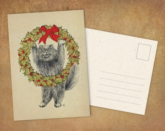 """Postcard """"Yule Cat"""" 
