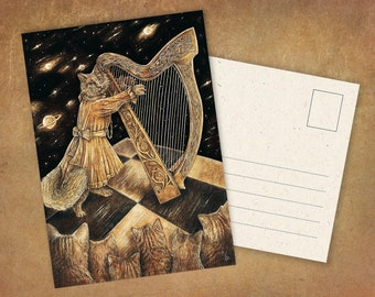 """Postcard """"Harp Cat"""" 