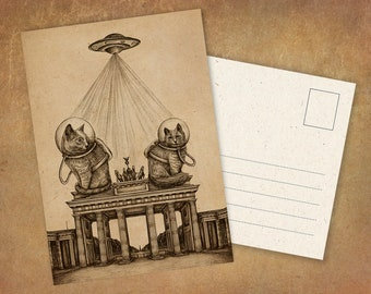 """Postcard """"Cosmocats on the Brandenburg Gate"""" 