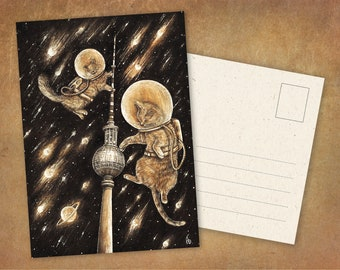 """Postcard """"Cosmocats In Berlin"""" 