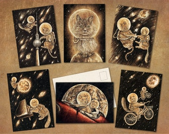 """Postcard Set """"Cosmocats"""" 