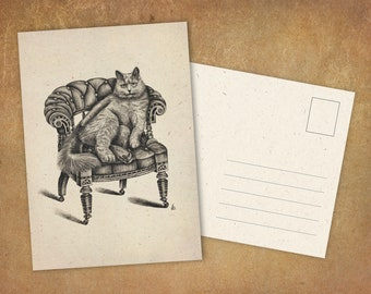 """Postcard """"Cat on a Chair"""" 