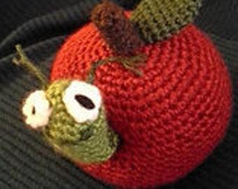 Teacher's Pet crocheted apple with worm