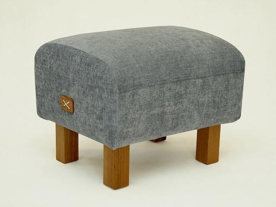 Ottoman Grey Upholstered Ottoman Bench Grey Seat Pouf Etsy