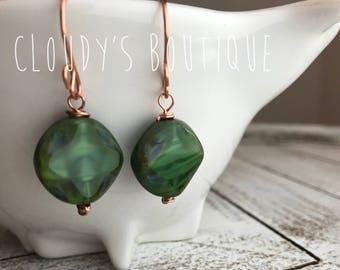Shamrock Green Earrings, Green Czech Glass Earrings, Green Glass, Forest Green Earrings, Verde Earrings, Round Green Earrings, Czech Glass
