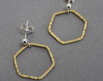 Brass hexagon stud earrings, gold hexagon studs, medium hexagon earrings, geometric earrings, brass hexagon studs, hammered gold studs
