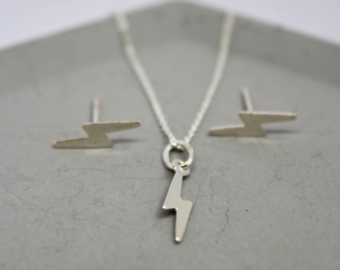 Featured listing image: silver thunderbolt necklace, silver lightning bolt necklace, tiny thunderbolt necklace, David bowie necklace, Harry Potter necklace
