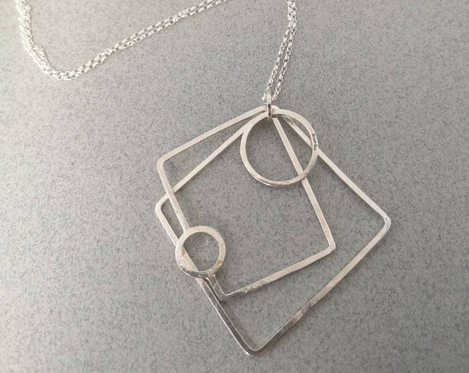 Featured listing image: Long statement necklace, architectural pendant, long silver necklace, hallmarked silver necklace, kinetic necklace,long geometric necklace