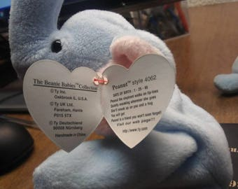 665c7f27723 Ty Beanie Babies Peanut the light blue elephant PVC retired