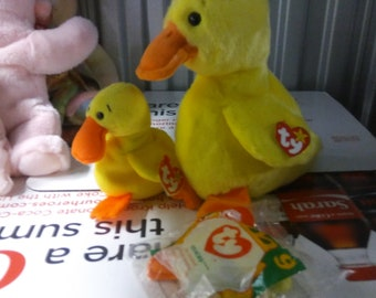 Ty Beanie Babies and Buddies Quackers the yellow duck 2 piece set 4b5eee3ed668