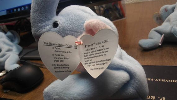 Ty Beanie Babies Peanut the light blue elephant PVC retired  6e30fec73bc