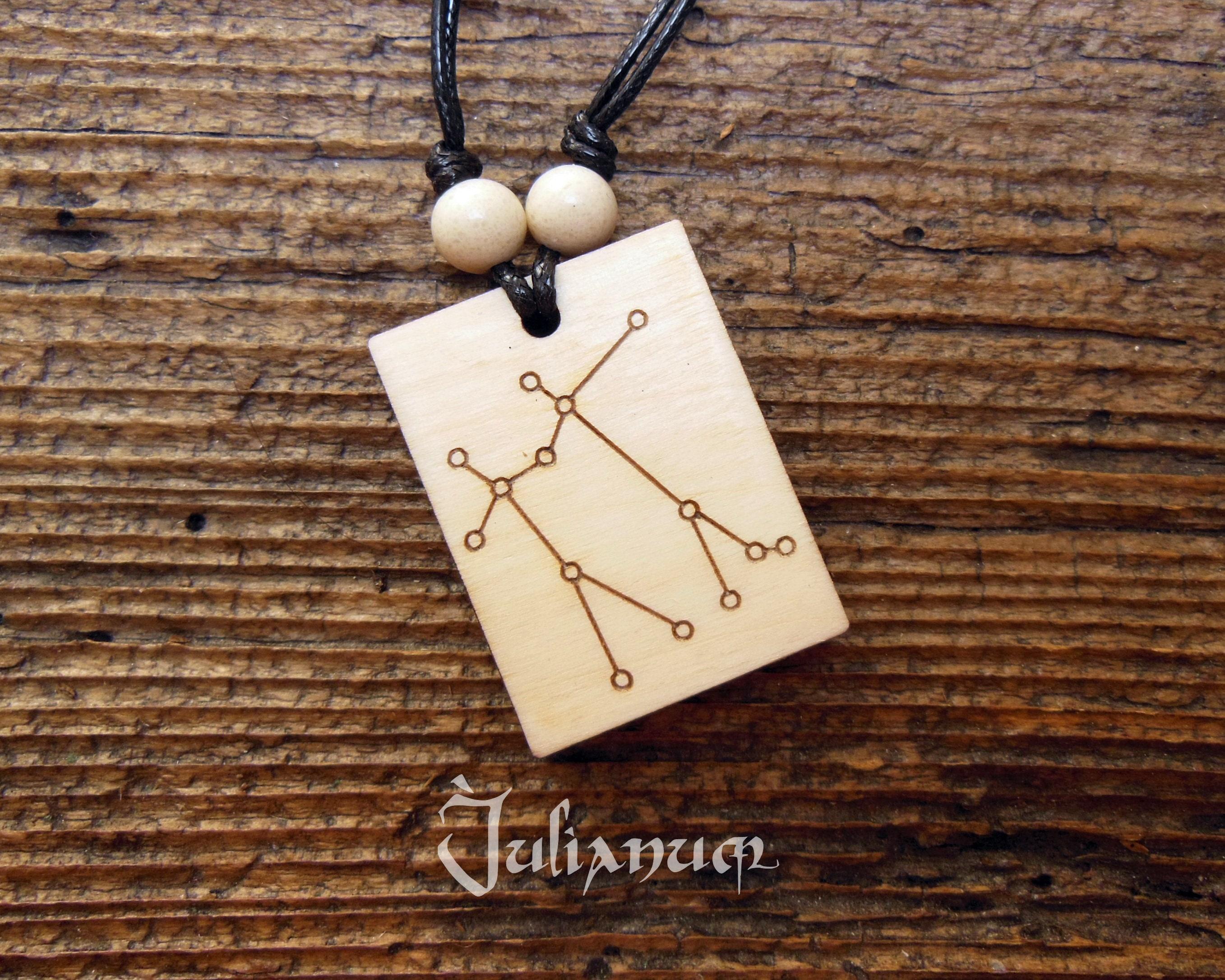 Wooden Gemini Necklace Constellation June