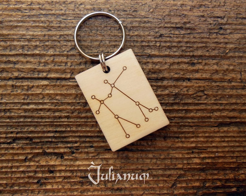 Wooden Gemini Key Ring Gemini Constellation Key Chain June