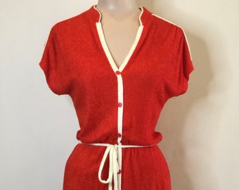 1970s Red Terry Cloth Short Sleeve Summer House Dress Size 13
