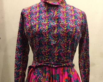 1960s-70s Original Lilly Pulitzer Neon Colors Flower Power Long Sleeve Dress