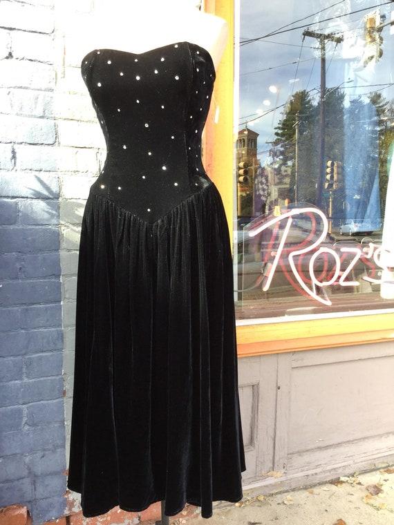 Strapless Long Black Velvet Dress with Rhinestones