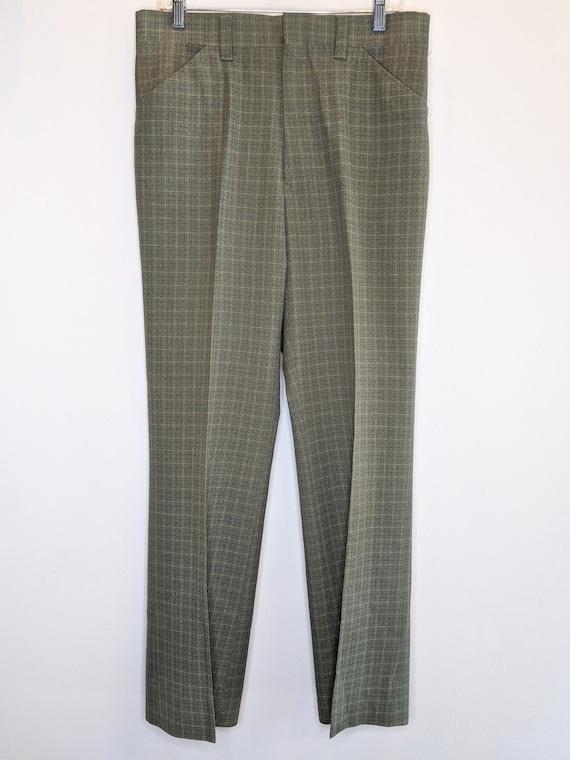 Trousers Pants Gray Green Plaid