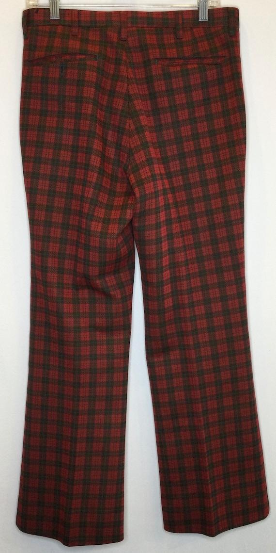 Plaid Farah Mens Trouser Pants 1970s Deep Green a… - image 2