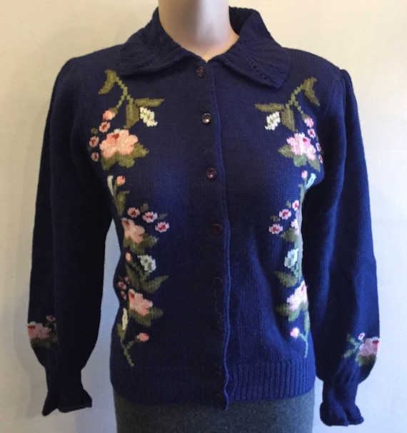 Hand Embroidered Floral Puff Sleeve Cardigan Sweat