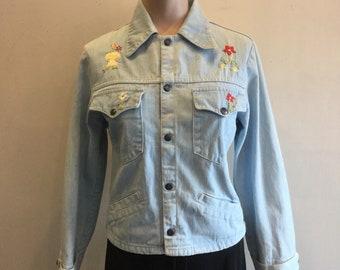 Denim Jacket 1970s Hand Embroidered Folk Art Size 11/12