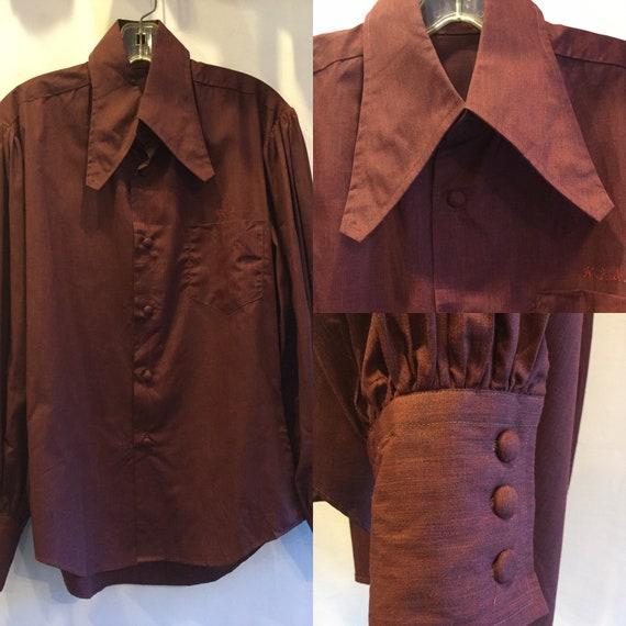 Super Cool Mens 1970's Shirt Puff Sleeve Covered B