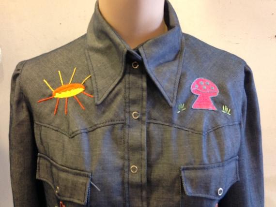 Denim jacket 1970s Embroidered Mushroom Hand Embro