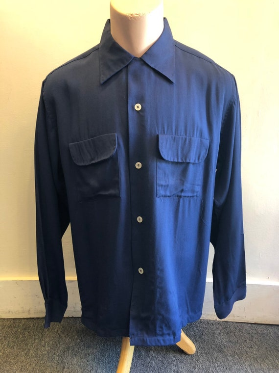 "Gabardine Shirt 1940's Cobalt Blue by ""Blocks"" Siz"