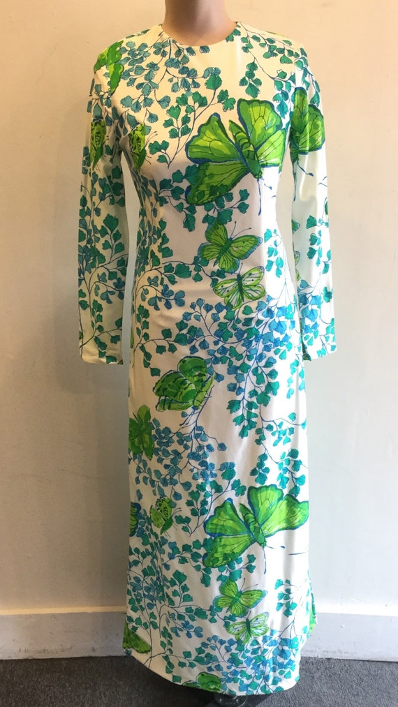 Maxie Dress 1970's All Over Butterfly Print