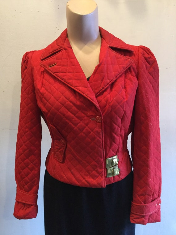 Red Quilted Ski Jacket 1940's