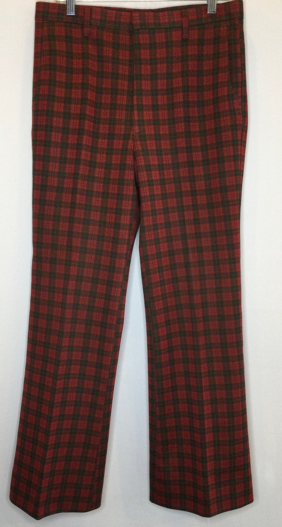 Plaid Farah Mens Trouser Pants 1970s Deep Green a… - image 1