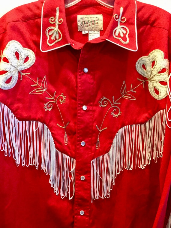 Western Red Cowboy Shirt Rockmount Ranch Wear Size