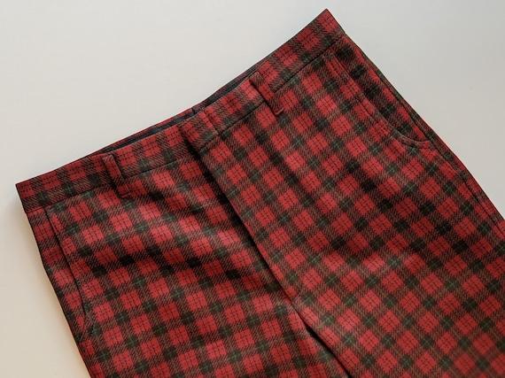 Plaid Farah Mens Trouser Pants 1970s Deep Green a… - image 3