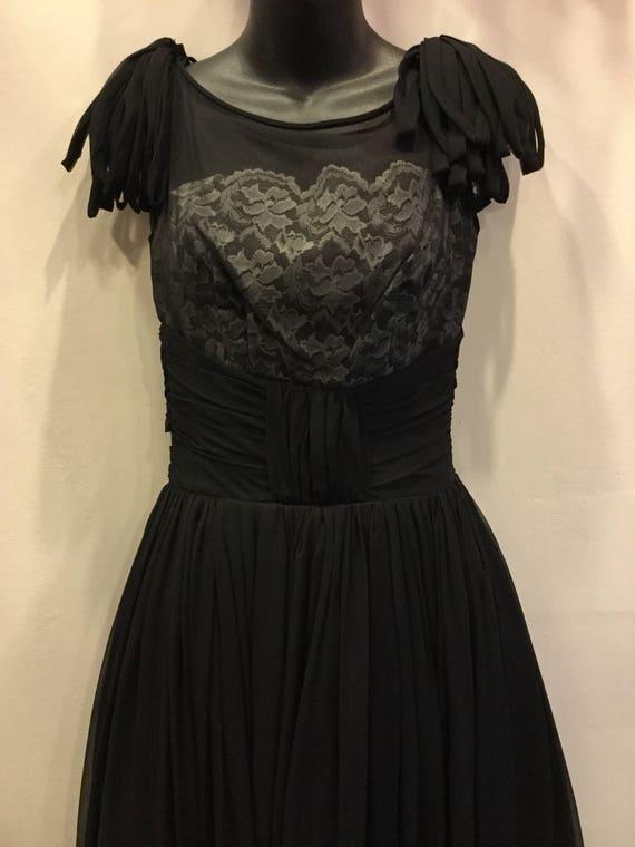 1950's Black Chiffon and White Lace Bodice