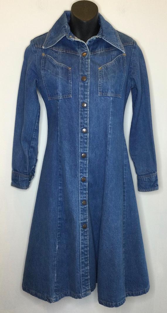1970s Denim Button Down Flare Dress by Landlubber