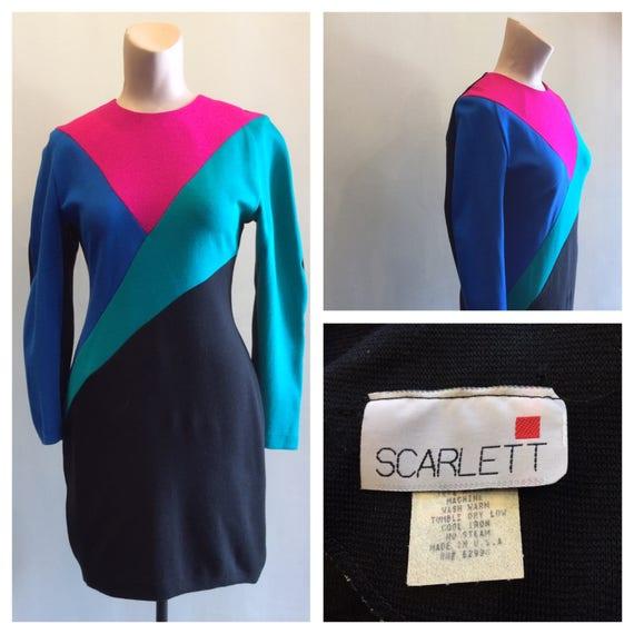 Dress Color Block 1980's Scarlett