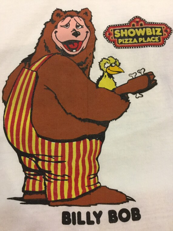 Showbiz Pizza Place Billy Bob Tee With Bear White Ringer Tee