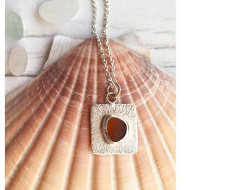 Sea glass Jewellery, Sea glass necklace, Amber, Sterling silver necklace, Beach jewellery, Boho necklace, Ocean necklace, Sea glass pendant