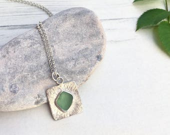 Sea glass Jewellery, Sea glass necklace, Mint, Sterling silver necklace, Beach jewellery, Boho necklace, Ocean necklace, Sea glass pendant