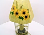 Small Glass Accent Lamp, Daisy Design, Hand Painted Paneled Wood Shade Glass Jar Base, Night Light Bulb, Small Table Light