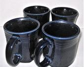 Set of 4 Cobalt Blue Fiesta Ware Coffee, Tea Mugs, Handles, Ridged Design Heavy Pottery Dishware, Navy Blue, 12 Ounce Capacity