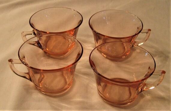 Pink Depression Glass Cups Cambridge Pattern Set Of 4 Bottom Etsy