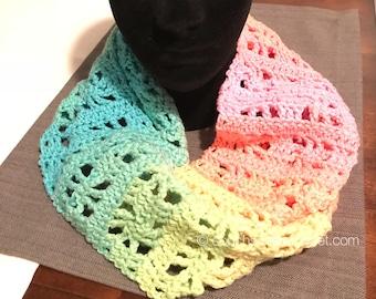Crochet Pattern / Lacy Crochet Scarf Pattern / Scarf Pattern / Lacy Scarf Pattern / Crochet Scarf Pattern / Ombre Yarn Pattern
