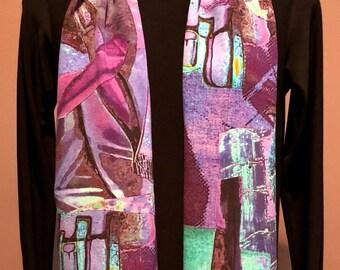 Art To Wear Silk Scarf-Unique Designer Silk Scarf-Vibrant Colorful Silk Scarf-Custom Printed-Limited Edition-Wearable art-100% Silk Crepe