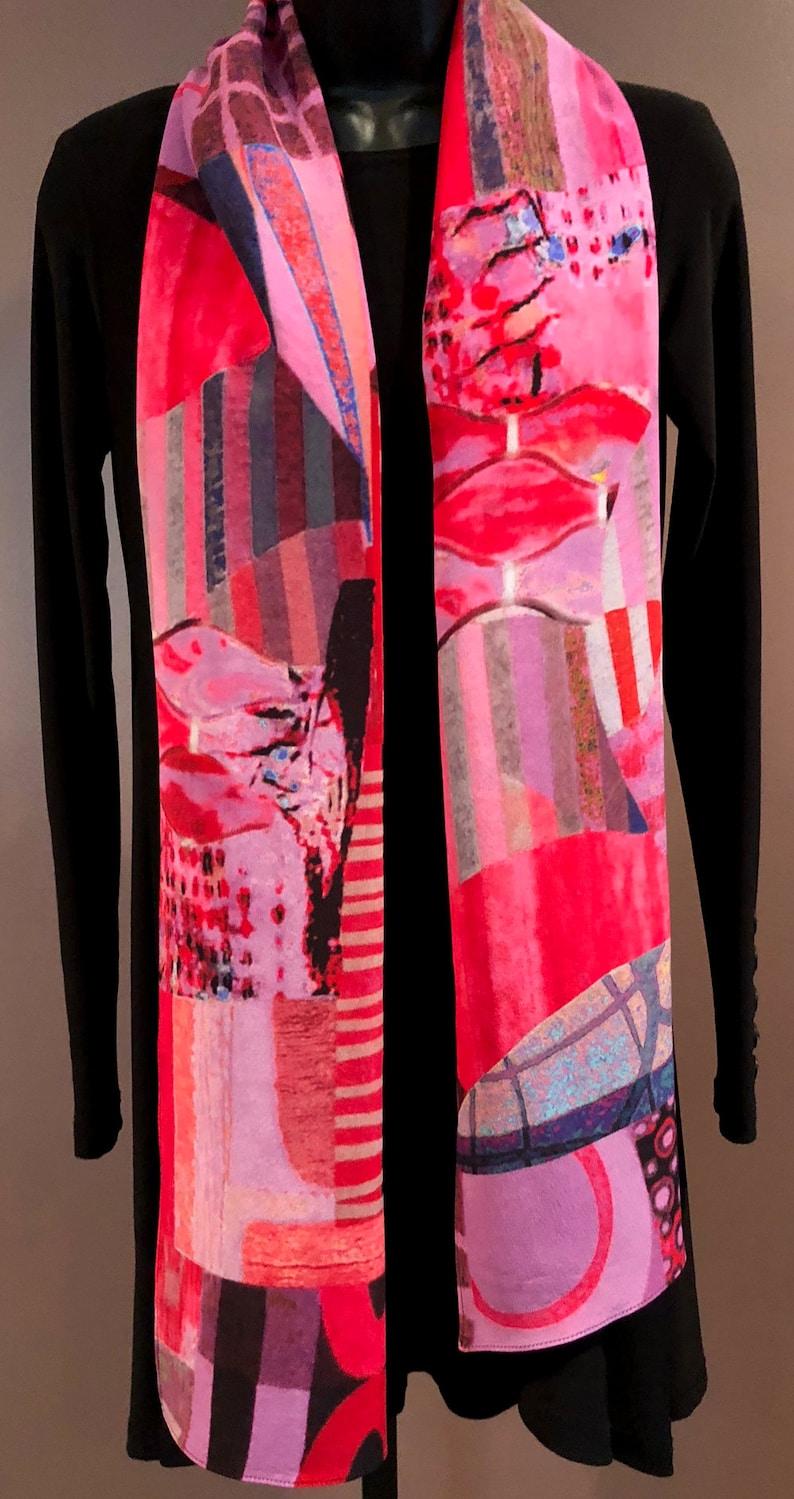 ba6150b321f Artistic Silk Scarf-Pink/Red Graphic silk scarf-13