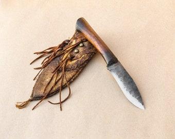 Beautiful Prairiewind Handmade Mountain Man knife, Deer hide sheath, Custom knife, Hand Forged knife,  Made in the USA