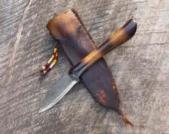 Prairiewind Handmade mountain man knife, Frontier style mountain man sheath, custom bushcraft knife, primitive, rustic, outdoorsman, USA