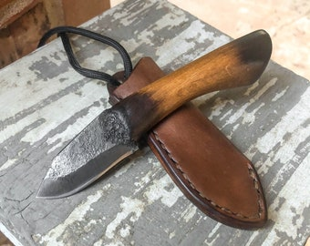 Hand Forged Neck Knife, Bushcraft knife, Hunting knife, Fishing, Camping, Living history, Made in the USA