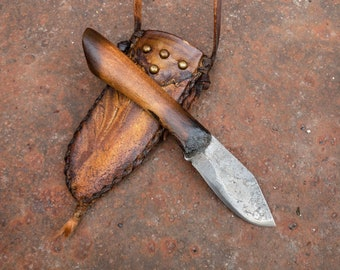 Handcrafted Custom Mountain man knife, neck carry deer hide sheath, hand forged, hunting, fishing, camping, western art, Made in Oklahoma