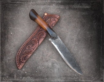 Large hand forged custom knife, hunting knife, fishing, camping, One of a Kind tooled leather sheath. Made in Oklahoma USA